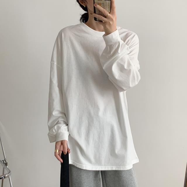 磨毛棉【T12952】1A41設計感豎袖T恤4色F.預購。小野千尋