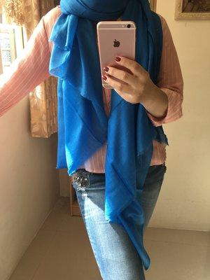 最後一件^^夢夢園SUPERFINE^^特級輕暖特訂SHAMINA 高級素色羊毛加大披肩200x100CM/ 湛藍色