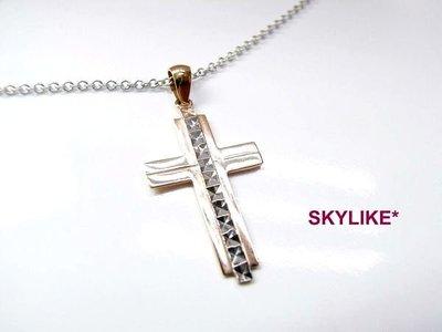 *SKYLIKE* 進口585/14K白K金、玫瑰K金墜鑽砂刻紋十字架墬子,奉獻系列2新貨到
