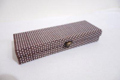 日式禪風竹蓆原木木扣收納盒 眼鏡盒 筆盒 長方形收納盒彩妝刷具盒 雕刻刀 筆刀收納盒 禮物盒 小款 現貨