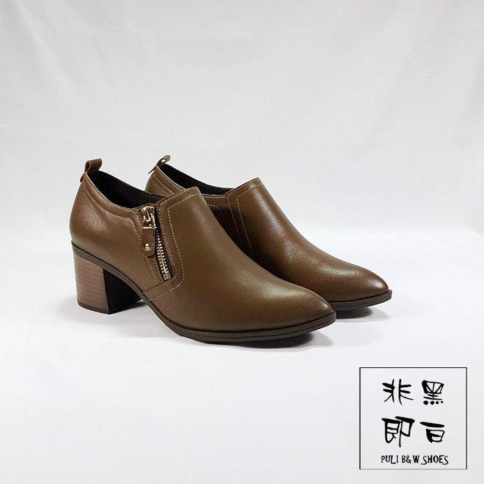 【非黑即白】MIT專櫃簡約百搭俐落粗跟側邊拉鍊真皮踝靴 短靴 跟鞋 咖啡色 327901