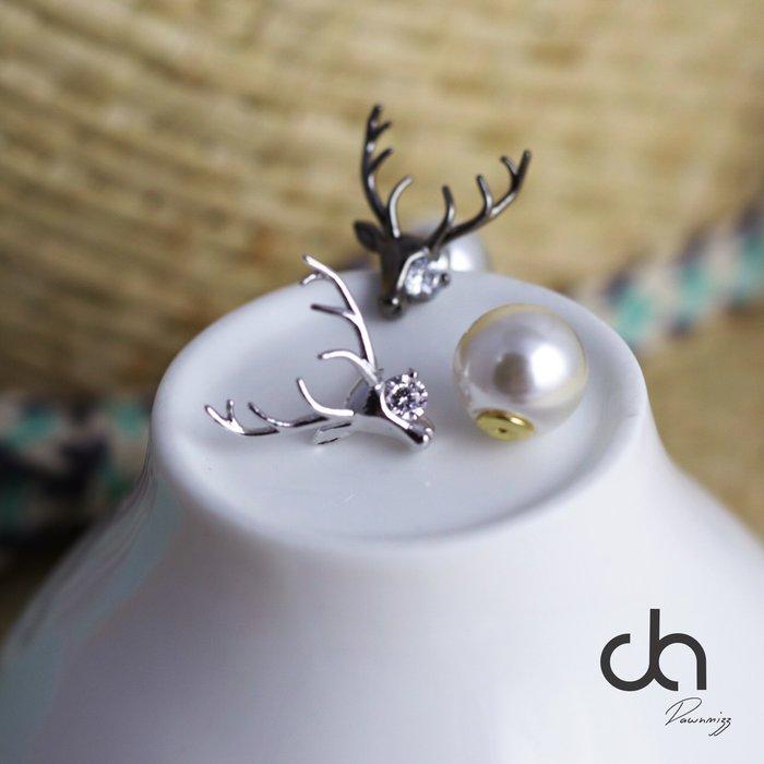 正韓925純銀長角麋鹿鋯石珍珠耳扣耳環 純銀 抗過敏 軟銀 動物造型  實拍現貨 米絲小姐玩時妝