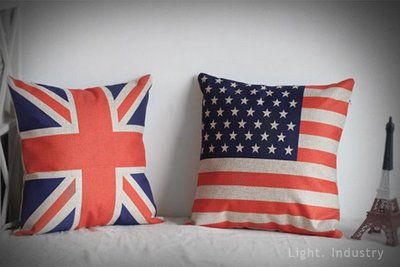 ~ 輕工業 ~復古英國美國國旗棉麻抱枕~zakka工業風雜貨美式英式沙發汽車靠墊枕頭 lo