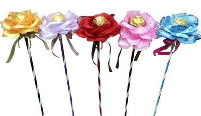 娃娃屋樂園~花朵金莎巧克力花棒 每枝28元/花朵金莎棒/婚禮小物/送客禮/迎賓禮/抽奬活動/求婚道具/教師節/情人節