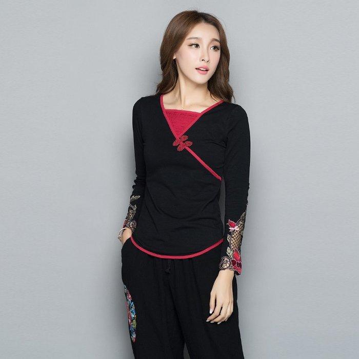 創意 民族風時尚大碼女裝秋季民族風T恤中國風盤扣刺繡大碼長袖上衣女士打底衫女