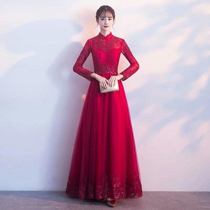 天使佳人婚紗禮服旗袍~立領蕾絲改良旗袍齊地長袖