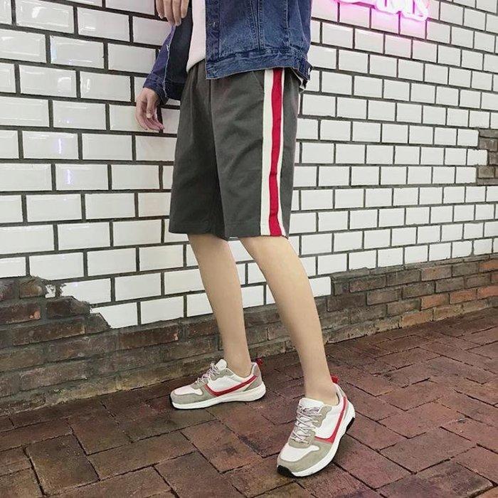 【免運費】夏季新款條紋運動短褲潮流男士休閒五分褲學生正韓男褲子QD3C-Y167