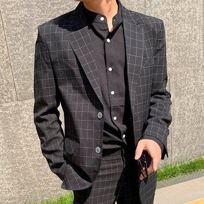 [So~What]東大門ByTheR韓國製ASCLO免燙不皺 雅痞紳士經典撞色格紋 合身收腰版型西裝外套 崔始源 李鍾碩