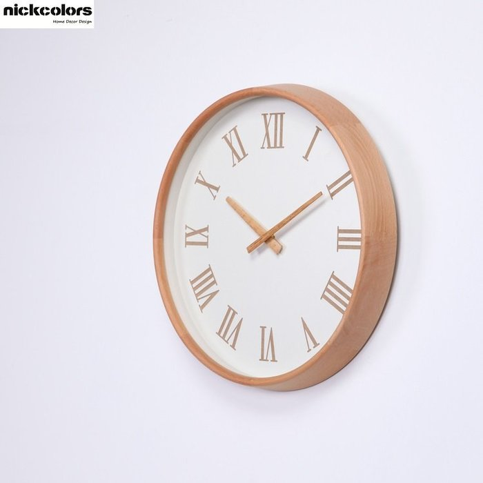 尼克卡樂斯~北歐實木框掛鐘 [實木指針羅馬數字款]  靜音時鐘 工業風掛鐘 歐洲鄉村風時鐘 客廳時鐘 臥室時鐘 壁掛鐘
