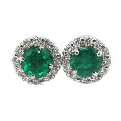 【JHT金宏總珠寶/GIA鑽石專賣】天然祖母綠鑽石耳環 /材質:PT900(JB46-A34)