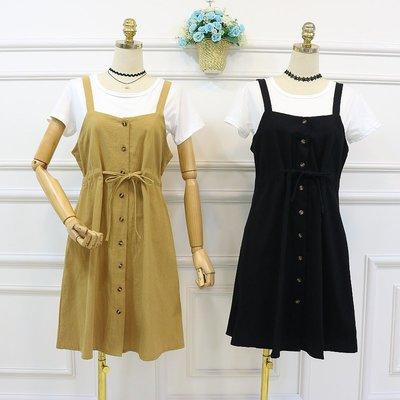 2018夏季新款韓版V領背帶高腰顯瘦單排扣中長款棉麻連衣裙兩件套