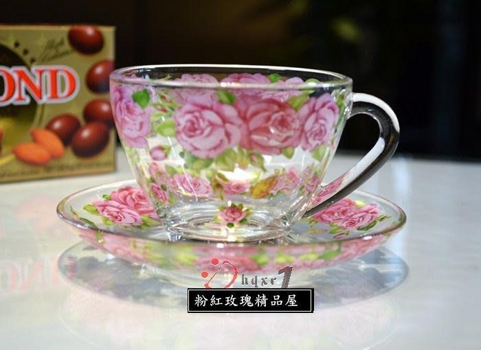 粉紅玫瑰精品屋~韓國進口ocean玻璃咖啡杯耐高温 一杯一盤~