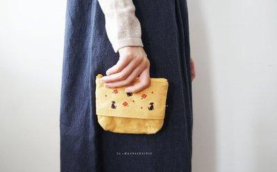 MH選物室 京都【にっぽんCHACHACHA】毛料 超柔軟 拉鍊式 兩用 兔子 黑貓 刺繡 化妝包 零錢包