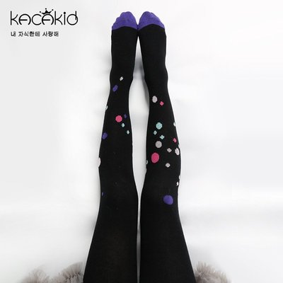 ~寶貝花園~kacakid 女童 防滑 百搭 舞蹈襪 內搭褲 打底褲 黑底彩色圓點 褲襪