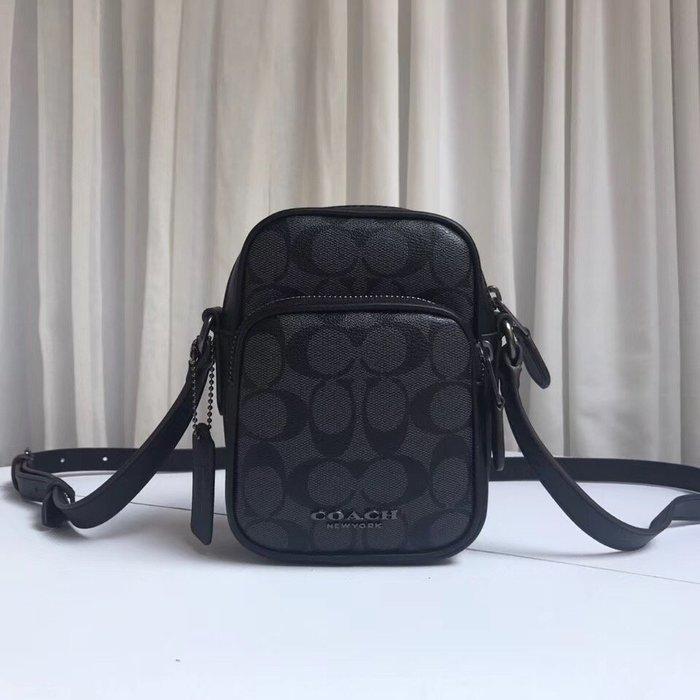 COACH 77861 全新經典C紋配皮男女通用迷你單肩斜挎小包包
