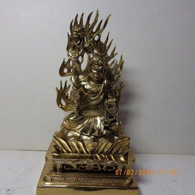 紫晶宮***銅精雕鎏金不動明王含背光約21公分***品質保證價格便宜