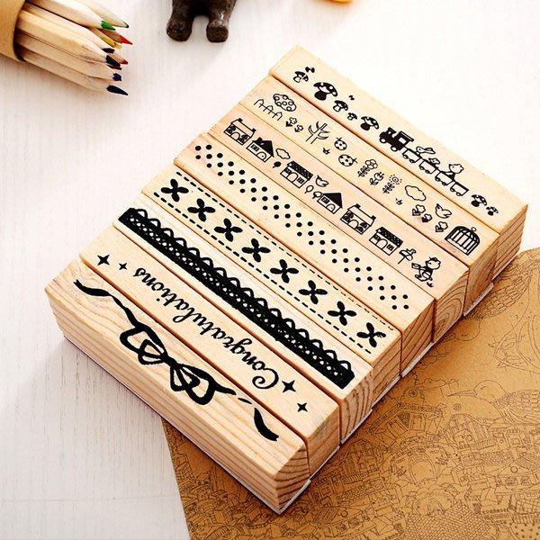文具 日記手帳創意象皮木頭印章 約10x1.5x3.5cm 花邊 蕾絲 點點 卡片 裝飾 印章【PMG413】收納女王