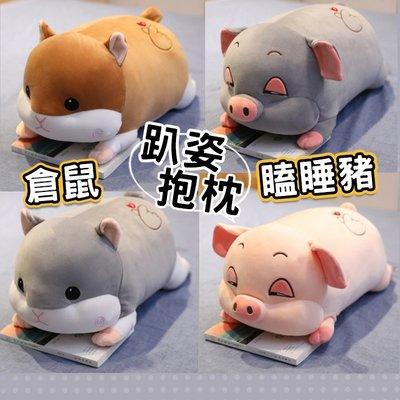(45cm賣場)趴姿 倉鼠 瞌睡豬 倉鼠抱枕 小豬抱枕 有毯子 動物抱枕 豬 老鼠 娃娃 玩偶 午睡枕 禮物【葉子小舖】