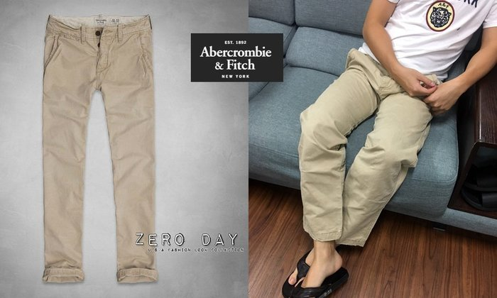 【零時差】A&F Abercrombie&Fitch Slim Straight Chinos洗舊工作褲-亮卡其