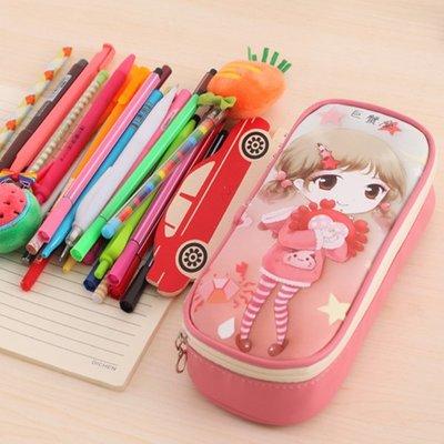 卡通大容量多功能筆袋簡約小女孩文具盒Y...