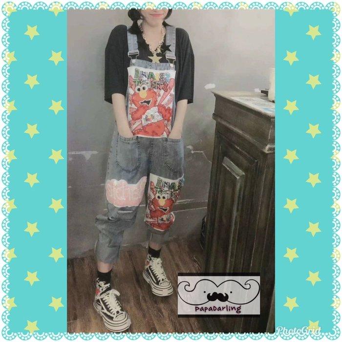 PapaDarling 19SS 歐美時尚潮牌芝麻街亮片鑲鑽 牛仔吊帶褲