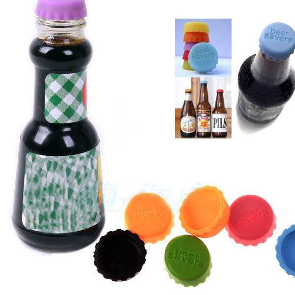 Q媽 創意家居 糖果色矽膠保鮮酒瓶蓋 紅酒啤酒蓋 6枚1組