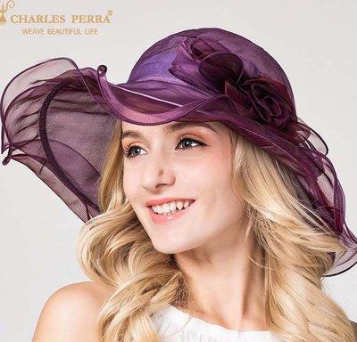 帽子女 夏天遮陽帽 高端真絲太陽帽 戶外防紫外線大沙灘帽