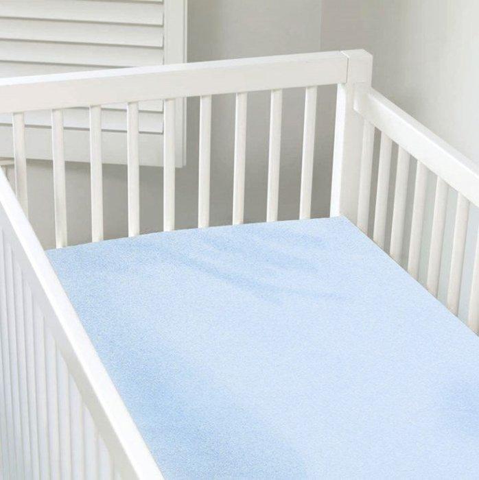 【兔寶寶部屋】kushies加拿大進口 - 有機棉嬰兒床床包-粉藍色 71X132cm