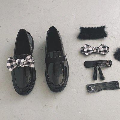 南在南方韓國百變魔法貼小黑鞋百搭套頭圓頭pu漆皮小平跟單鞋樂福 精品女鞋