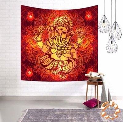東南亞泰國大象掛布掛毯桌布 (紅色)