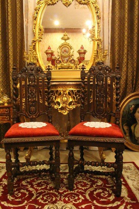 【家與收藏】賠售特價稀有珍藏歐洲百年古董18世紀法國古堡莊園精緻手工刻花古典老橡木椅