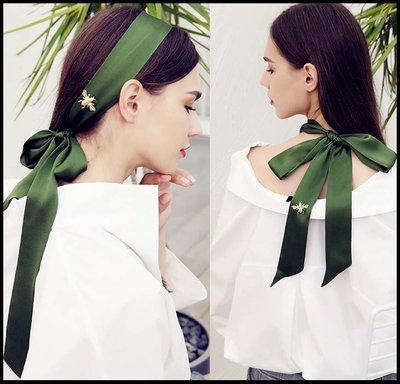 【Fashion歐洲站】復古綠色真絲飄帶桑蠶絲細窄絲巾長款夏女蜜蜂裝飾領巾綁包帶發帶