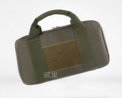 36CM 手槍袋 綠 ( 槍盒 槍箱 槍袋 槍包 旅遊 登山 槍包 書包 背包 生存遊戲 軍事風 迷彩 7吋龍 左輪手槍