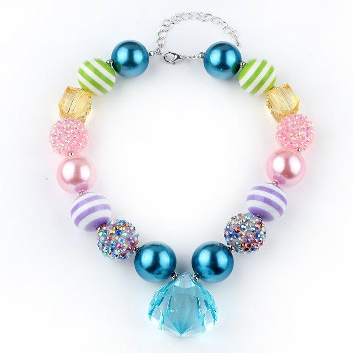 ☆草莓花園☆CC125 藍色寶石 兒童吊墜串珠項鍊 歐美飾品 舞會 生日必備