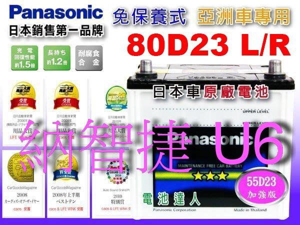 【鋐瑞電池】國際牌 (80D23R) LUXGEN 納智捷 U6 75D23R 90D23R 可 外出安裝 汽車電瓶