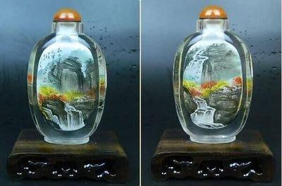 山水圖水晶內畫鼻煙壺中國特色手工藝品創意禮品送長輩商務 壺說128
