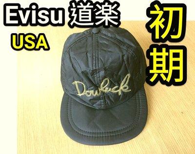 【旅人 tai 】鬼罕~  初期 evisu 道樂 Dowluck  黒色棒球帽  MADE IN USA 檢 ma1