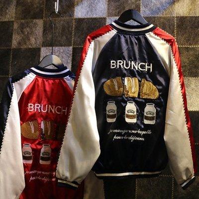 Qmi 個性拼接袖奶酪面包刺繡長袖外套