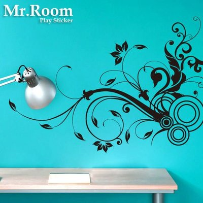 ☆ Mr.Room 空間先生 電腦割字 割圖 創意 壁貼 花草普普風 (PO012) 浪漫花草 牆壁貼紙 歐式