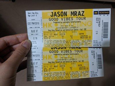 Jason Mraz香港演唱會(17/5/2019 Fri) 半價