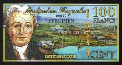 wp054,2010年,凱爾蓋朗群島(Kerguelen)100 Fr 紙幣樣鈔(Specimen),UNC,極少見。