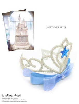 ✨EverDazzleLand✨仙履奇緣玻璃鞋故事 仙杜瑞拉精緻手工夢幻水藍色蝴蝶結公主皇冠