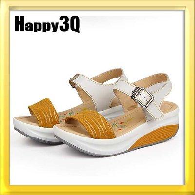 一字木紋防水台防滑厚底鬆糕休閒涼鞋-白/黃/藍35-40【AAA0518】預購
