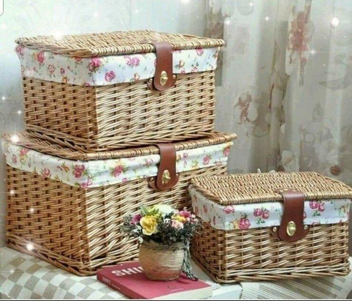 粉紅玫瑰精品屋~韓式田園藤編雜物收納箱~三件套