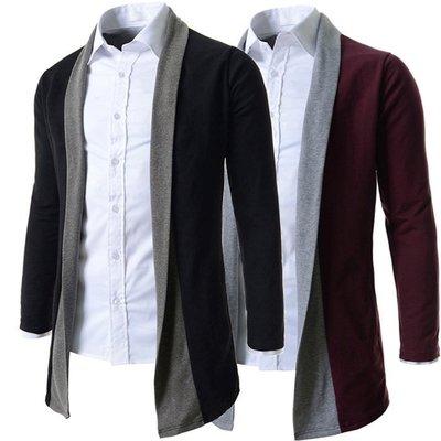 『潮范』 W08 新款 拼色休閒 長袖針織衫開衫 針織外套 素面針織衫 線衫 素面毛衣 夾克NRB2499