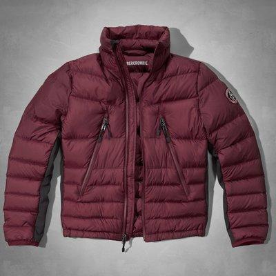 【天普小棧】A&F Pine Point Trail Puffer Jacket輕量保暖立領羽絨外套夾克酒紅M號現貨抵台