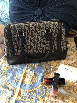 已售 Christian Dior 正品 logo緹花布老花波士頓包 vintage