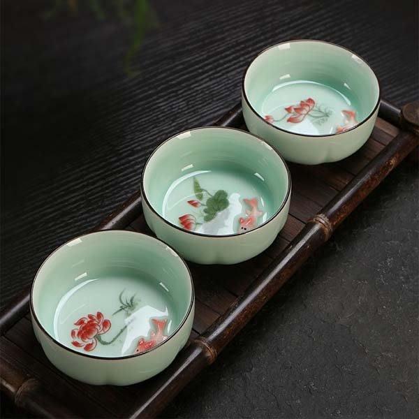 5Cgo【茗道】含稅會員有優惠 521297635262 陶瓷功夫茶杯龍泉青瓷鯉魚茶杯小茶杯品茗杯茶具配件茶盤擺件 6杯