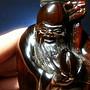 牛角雕綠松石鼻煙壺【山玉軒】大清年間~收藏品~《壽翁獻桃》 下標即售