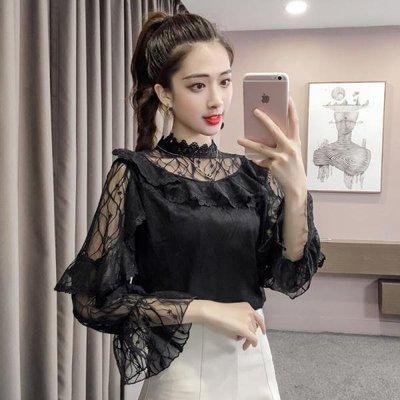 2018秋季新款時尚甜美立領花邊拼接荷葉邊喇叭袖純色蕾絲衫上衣女
